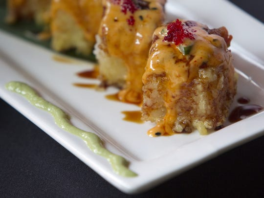 Bu Da Lounge's Hot Blonde Roll, made with tempura fried rice roll, tuna tartare, jalapeno, tobiko, and sweet unagi sauce will be on the menu at Stixx, the new cigar bar from Bu Da founders. Stixx opens early November 2017 at 361 Indiana Ave.