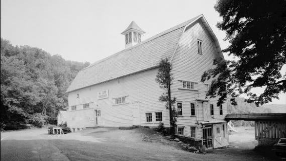The barn at the John Turn Farm is shown prior to its demolition c.1970.