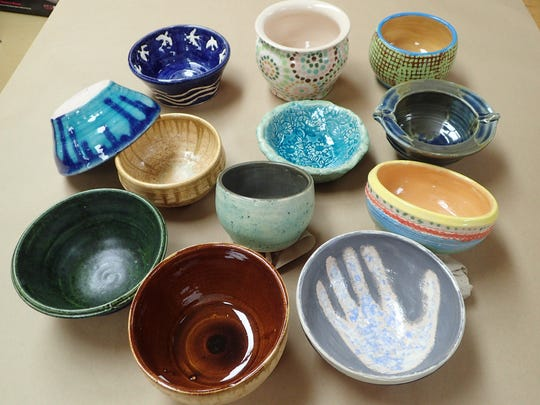 Some of the bowls decorated by Southern Door Elementary