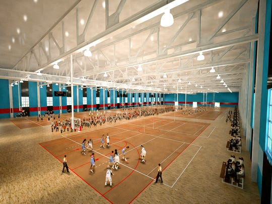A rendering of the basketball courts of the planned
