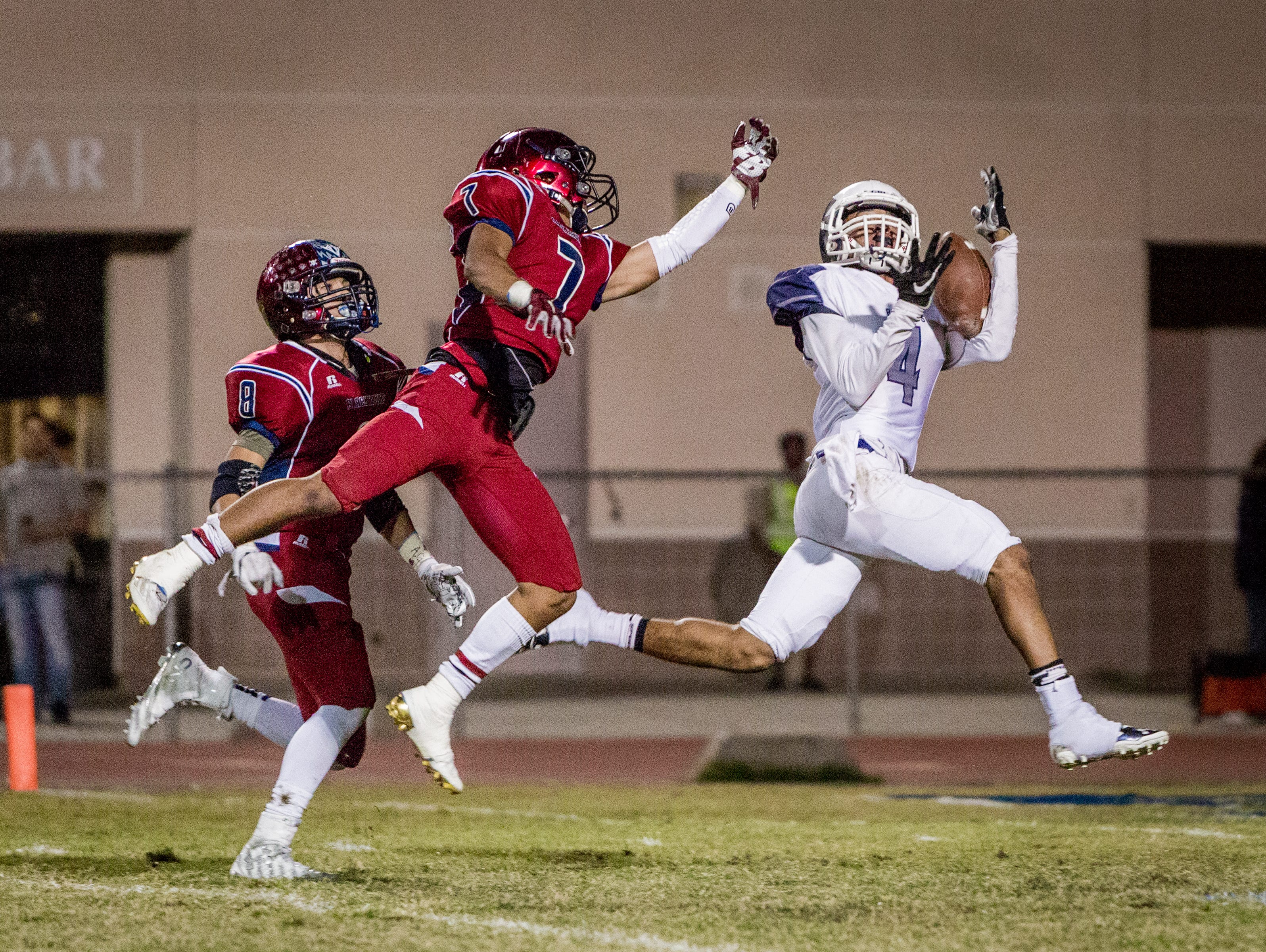Redlands wideout Jakobie James catches the first touchdown of the night.