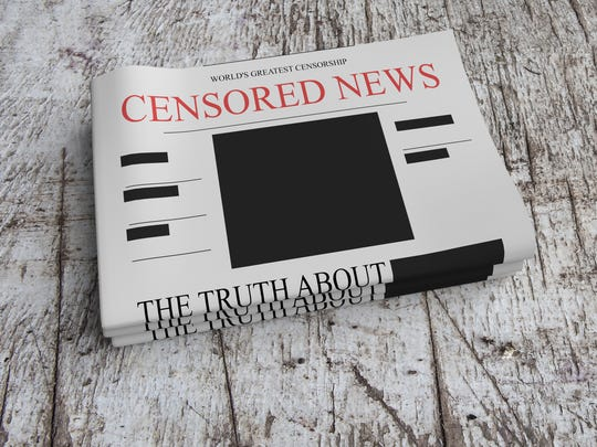 Censorship News Concept: Pile of Censored Newspapers On Scratched Old Wood, 3d illustration