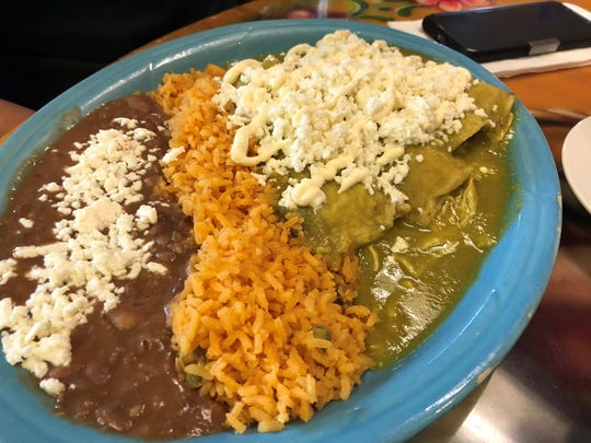 The chicken enchiladas verde at Garibaldi Bakery and
