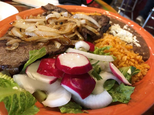 The steak and onions at Garibaldi Bakery and Mexican Restaurant.