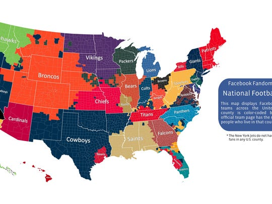 NFL loyalties by Facebook likes.