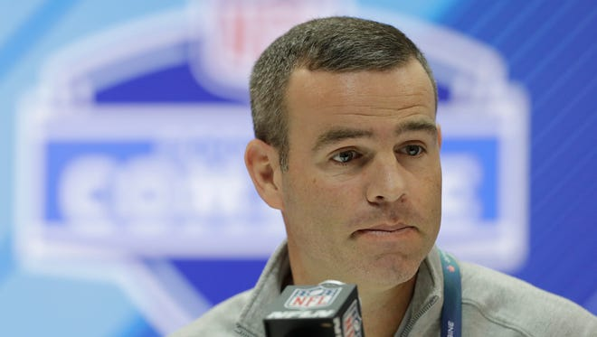 Buffalo Bills general manager Brandon Beane speaks during a press conference at the NFL football scouting combine, Wednesday, Feb. 28, 2018, in Indianapolis.