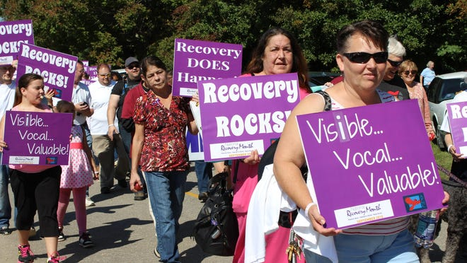 Advocates for recovery from addiction and mental illness marched around Lake Junaluska on Sept. 19 during the inaugural Western Regional Recovery Rally.