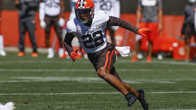 Cleveland Browns safety Grant Delpit runs through a drill during practice at the NFL football team's training facility Wednesday, Aug. 19, 2020, in Berea, Ohio. The rookie safety ruptured his right Achilles tendon while going through individual drills on Monday, Aug. 24.