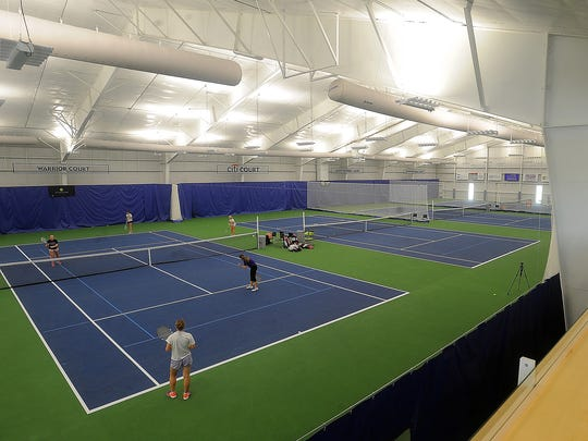 The University of Sioux Falls women's tennis team practices Tuesday at the Huether Family Match Pointe facility at the Sanford Sports Complex.