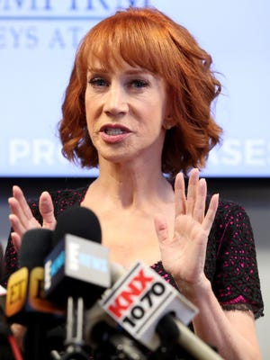 Kathy Griffin held press conference after a controversial photoshoot where she was holding a bloodied mask depicting President Donald Trump to address alleged bullying by the Trump family.