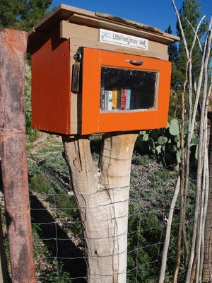 This Little Free Library in Carrizozo is creatively perched on top of a tree stump.  A drive around the town will reveal where the other unique miniature libraries are located.