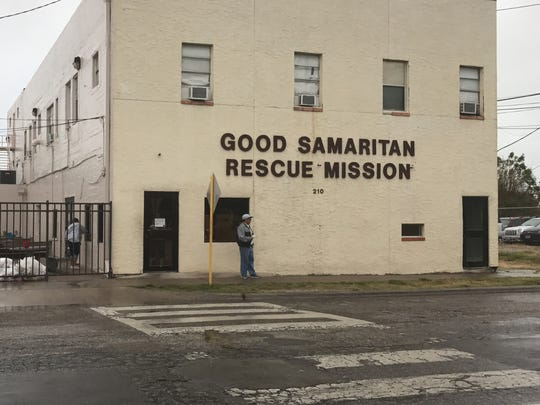 The Good Samaritan Rescue Mission at 210 S. Alameda St. was accepting the homeless in need in shelter during Hurricane Harvey on Friday, Aug. 25, 2017.