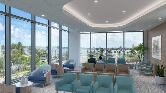 A rendering shows the waiting area of the new Hospital for Special Surgery of New York facility going up across from Good Samaritan Medical Center in West Palm Beach.