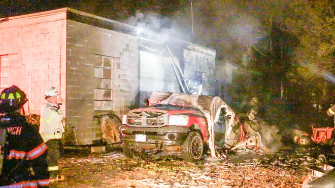 The Speedway Gas Station and auto repair business on Route 130 in Sandwich was heavily damaged in a fast-moving fire at about 8:55 p.m. Thursday.