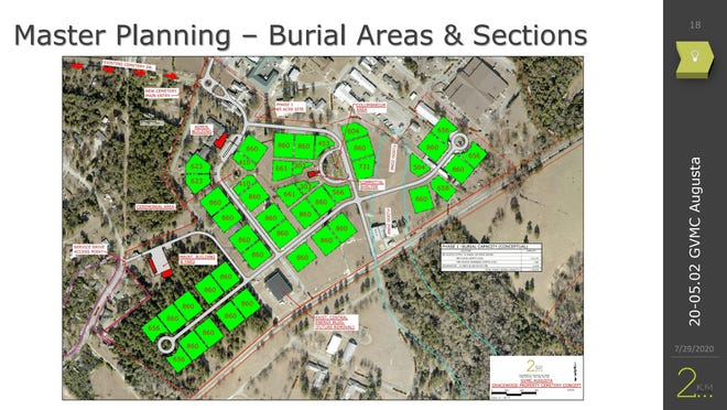 This is a map of the proposed state veteran cemetery on the Gracewood Hospital campus in Augusta. Former mayor Bob Young and Forces United Deputy Director Don Clark are spearheading a local effort to open the new cemetery.