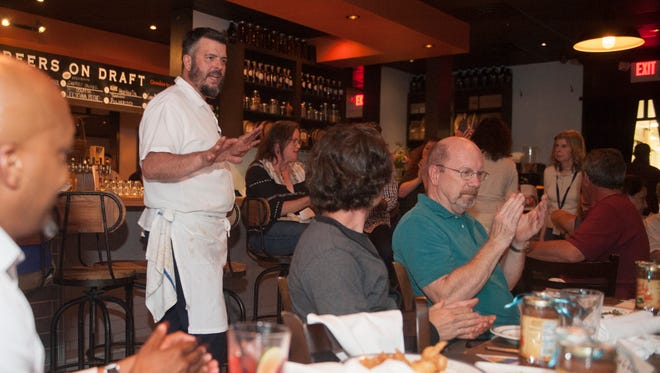 The Farm and Fisherman Tavern Chef/Partner Todd Fuller speaks during the third semi-annual #WasteNot community conversation, co-hosted by the Courier-Post, the Farm & Fisherman Tavern, and the Center for Environmental Transformation held at the Farm & Fisherman Tavern in Cherry Hill on Tuesday, June 5, 2018.