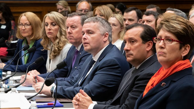 Leaders of various national  governing bodies prepare to testify last week before the House Commerce Oversight and Investigations Subcommittee.