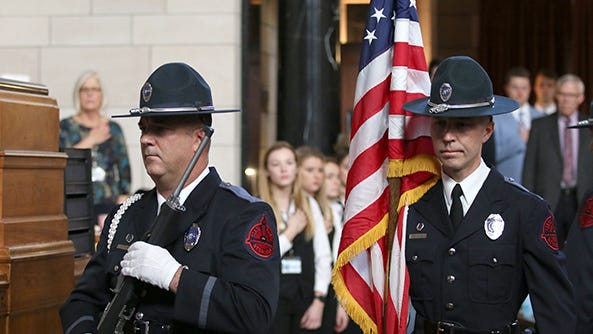 Members of the Nebraska State Patrol presented the colors on the first day of the second session of the 106th Nebraska state legislative session.