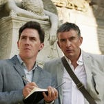"""Steve Coogan, right, and Rob Brydon play friends who share a culinary adventure in """"The Trip to Italy."""" The actors are reprising their roles from director Michael Winterbottom's 2010 gastronomical tour film 'The Trip,' in which they dined across England."""