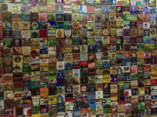 The beer wall at Original Gravity is a place to snap photos in front of.