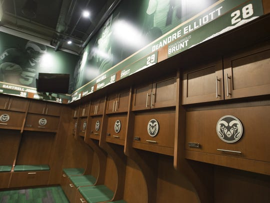 The new Rams locker room is lined with names of current