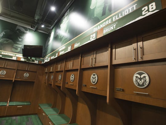 The new Rams locker room is lined with names of current and star players during a tour of the new CSU football stadium on Tuesday, July 18.