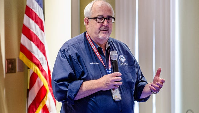 FEMA Administrator Craig Fugate holds video teleconference Town Hall meeting at Region 2 Headquarters on  July 14, 2015 in New York.