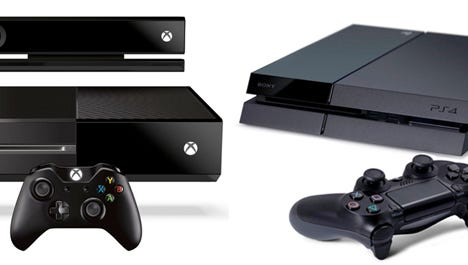 The Xbox One (left) and PlayStation 4.