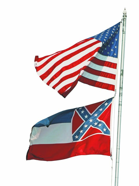 Mississippi flags flying