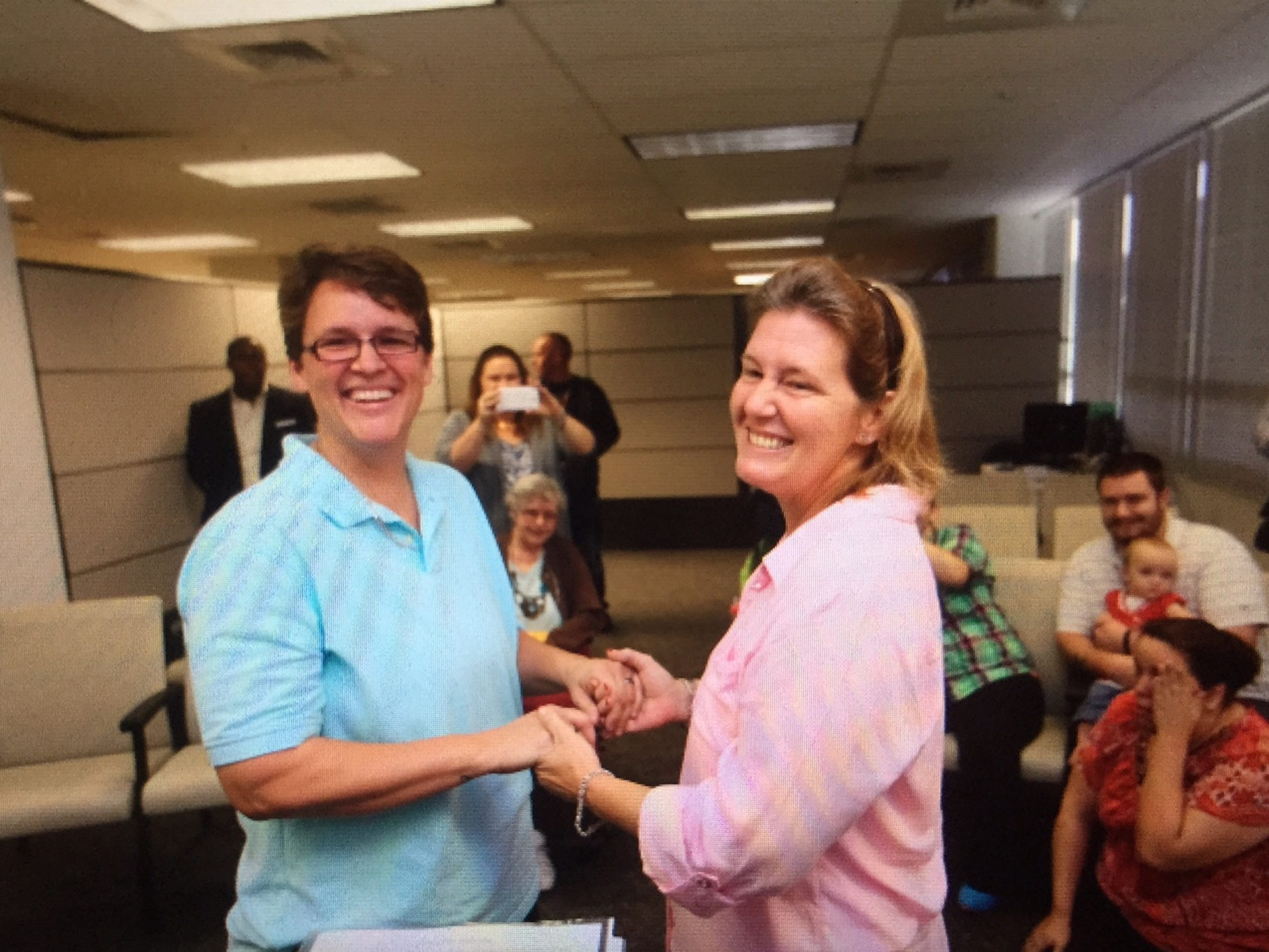 Susan Amann and Lisa Brimhall were the second same-sex couple to get legally married in Lee County.