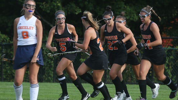 Mamaroneck's Molly Banks celebrates her first half