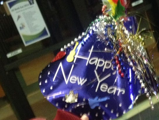 A Happy New Year party hat at a 2014 U.S. Bank Eve