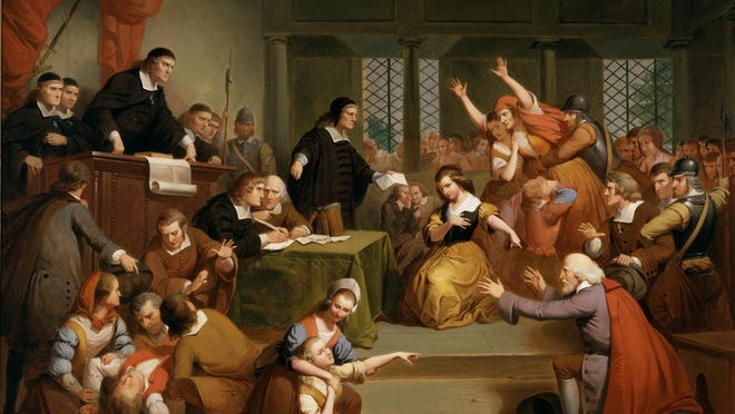 """""""The Trial of George Jacobs, Aug 5, 1692,"""" Tompkins Harrison Matteson."""