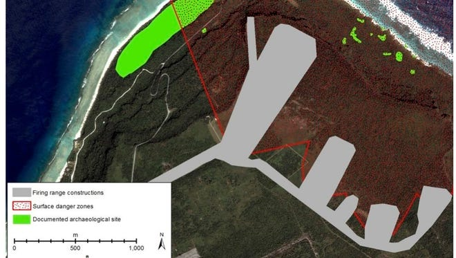 This rendering prepared my Mike Carson from the University of Guam's Micronesian Area Research Center shows a site map of the Live Fire Training Range to be built at Ritidian.