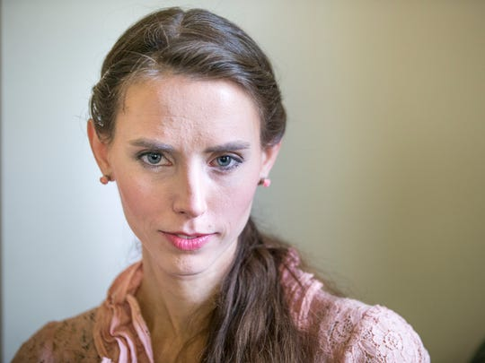 Rachael Denhollander poses at her home in Louisville,