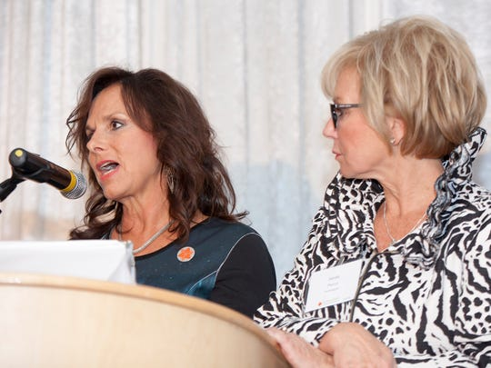 From left, Andra Rush, founder, chairman, CEO and president, Rush Group and Sandy Pierce, Senior Executive VP, Private Client Group and Regional Banking Director and chair of Michigan for Huntington Bank, are co-chairs for Lights, Courage, Action! They are photographed on April 24, 2017 at a Lights Courage Action event in Detroit.