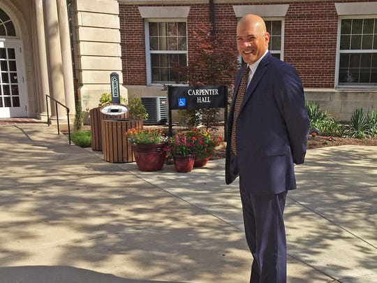New Earlham College President Alan Price outside of