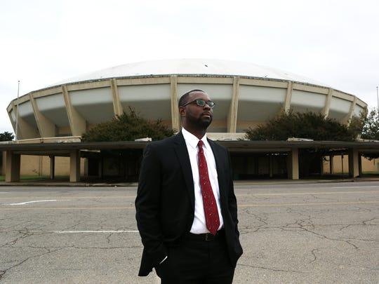 Memphis Housing and Community Development Director Paul Young stands in front of the Coliseum in 2017. The surrounding Mid-South Fairgrounds is set to see $150 million in redevelopment efforts.