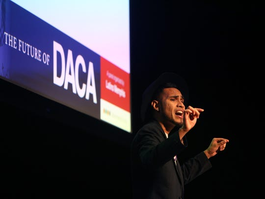 "November 15, 2017 - Roberto ""Boro"" Alfaro performs a spoken word piece called ""Dreamers"" during ""The future of DACA, an analysis and panel discussion about the Dream Act"" at the Halloran Centre on Wednesday."