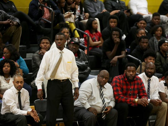 January 9, 2018 - Whitehaven's head coach for boys basketball Faragi Phillips watches his team compete against Briarcrest during the game at Whitehaven High School on Tuesday night. Briarcrest defeated Whitehaven 60-56.