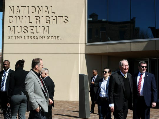 Sen. Lamar Alexander, second from right, arrives at the National Civil Rights Museum for a bipartisan civil rights pilgrimage by members of Congress on March 2.