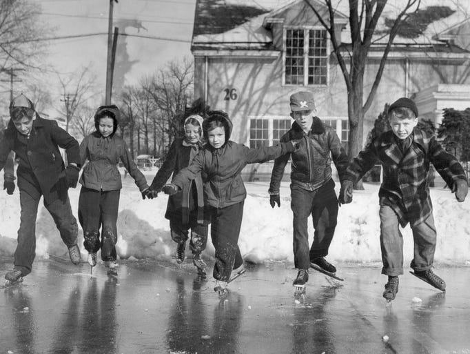 The first skaters to hit the new ice rink at the Michigan