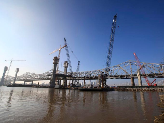The downtown crossing of the Ohio River Bridges Project.