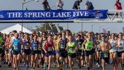 Start of the 2018 Spring Lake Five race in Spring Lake