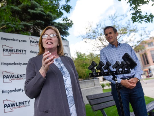 Lt. Gov. Michelle Fischbach speaks during a press conference with gubernatorial candidate Tim Pawlenty May 31, 2018, near the Stearns County Courthouse in St. Cloud.