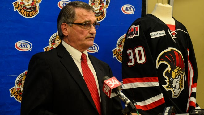 Executive Vice President of Operations for the Binghamton Senators Tom Mitchell announces a four-year affiliation extension with the Ottawa.
