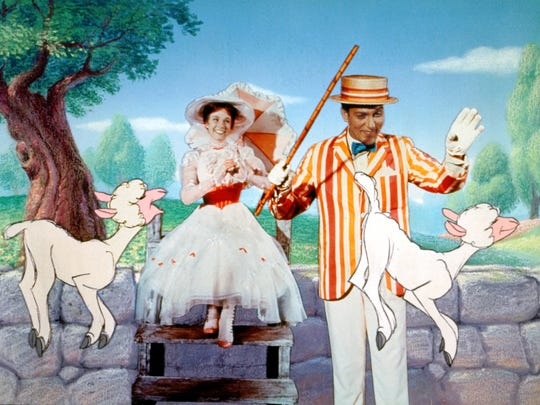 """""""Mary Poppins"""" (1964) won five Oscars, including best actress for Julie Andrews. The Brit played opposite Dick Van Dyke and, in this scene, some animated sheep."""