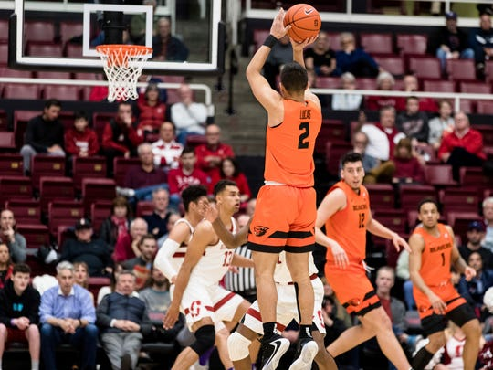 Oregon State guard Jarod Lucas (2) takes a 3-point shot against Stanford during the first half of an NCAA college basketball game Thursday, Jan. 30, 2020, in Stanford, Calif. (AP Photo/John Hefti)