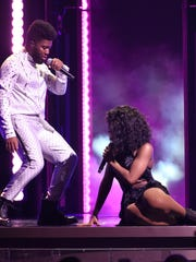 "Khalid, left, and Normani perform ""Love Lies""at the"