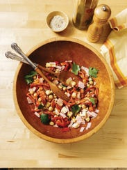 Chick Pea and Roasted Pepper Salad with Maple Syrup